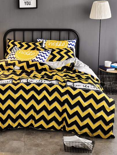 1.5m 4Pcs Chevron Print Duvet Cover Set