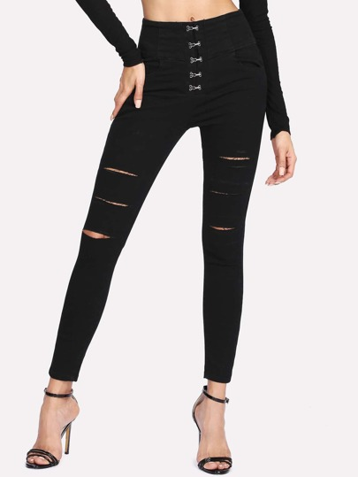 Hook And Bar Placket Ripped Detail Jeans