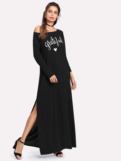 Letter Print Long Sleeve Maxi Dress
