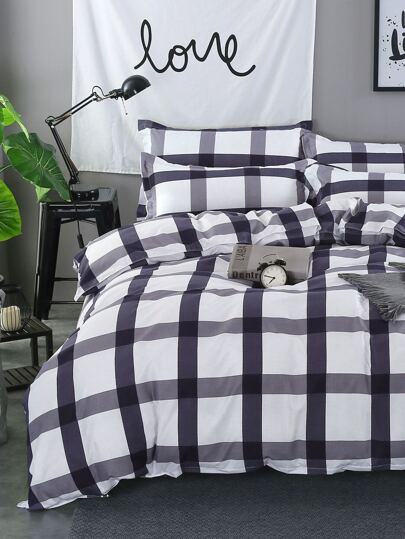 2.0m 4Pcs Check Plaid Print Duvet Cover Set
