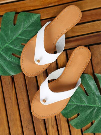 Knotted Thong Flat Slippers WHITE