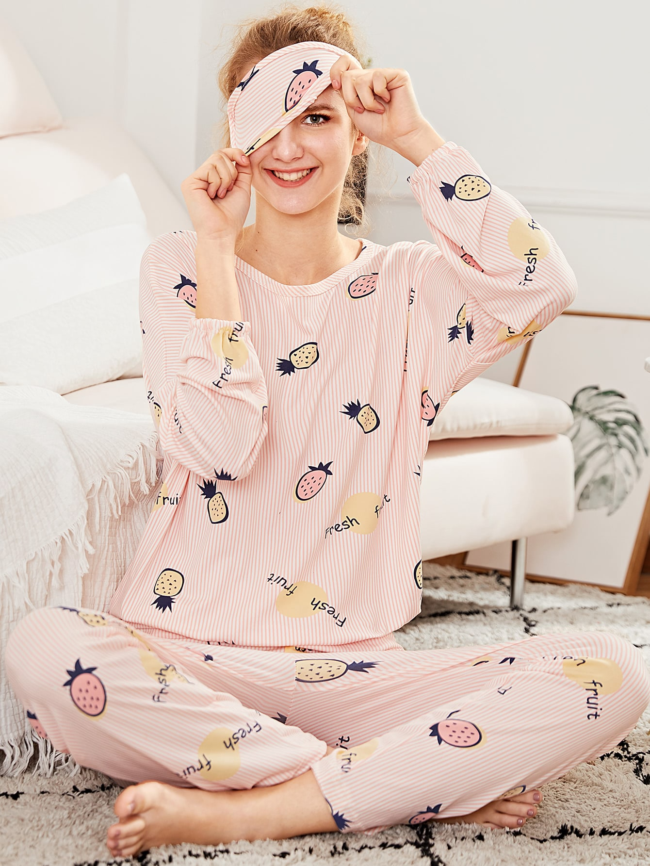 Pineapple Print Pajama Set With Eye Mask car scratch repair remover paint pen red 10ml