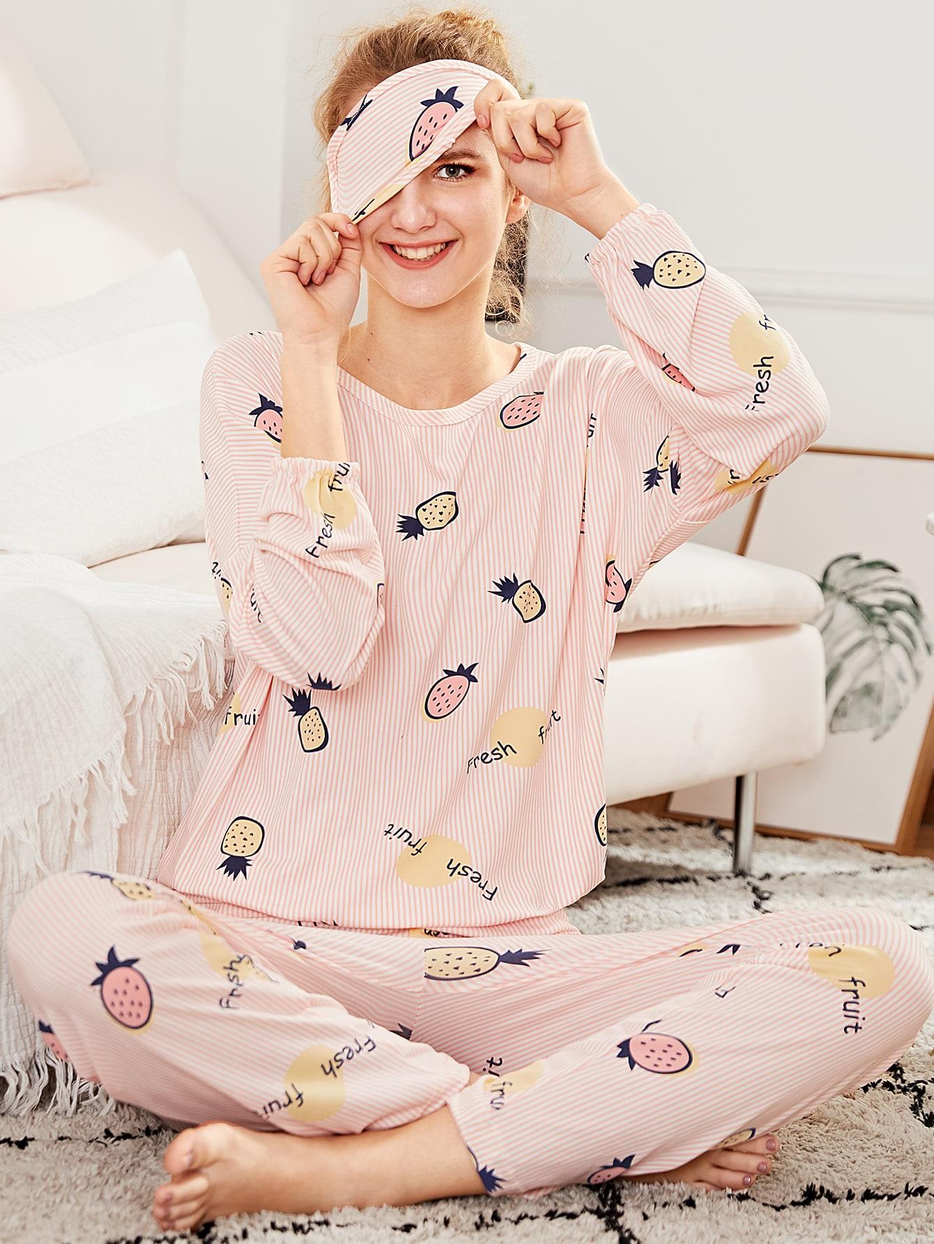 Pineapple Print Pajama Set With Eye Mask сумка palio palio pa155bwifc08
