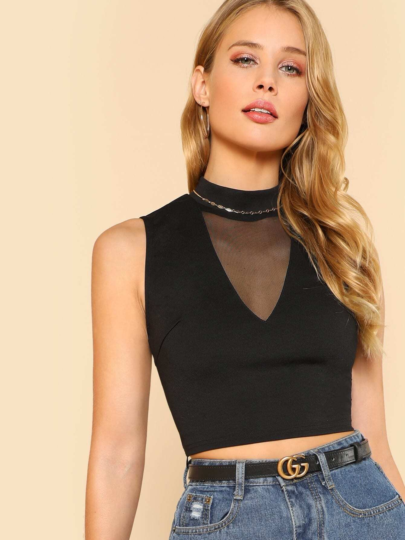 Mesh V Neck Crop Top v neck crop shell top