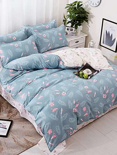 1m 3Pcs Flamingo Print Duvet Cover Set