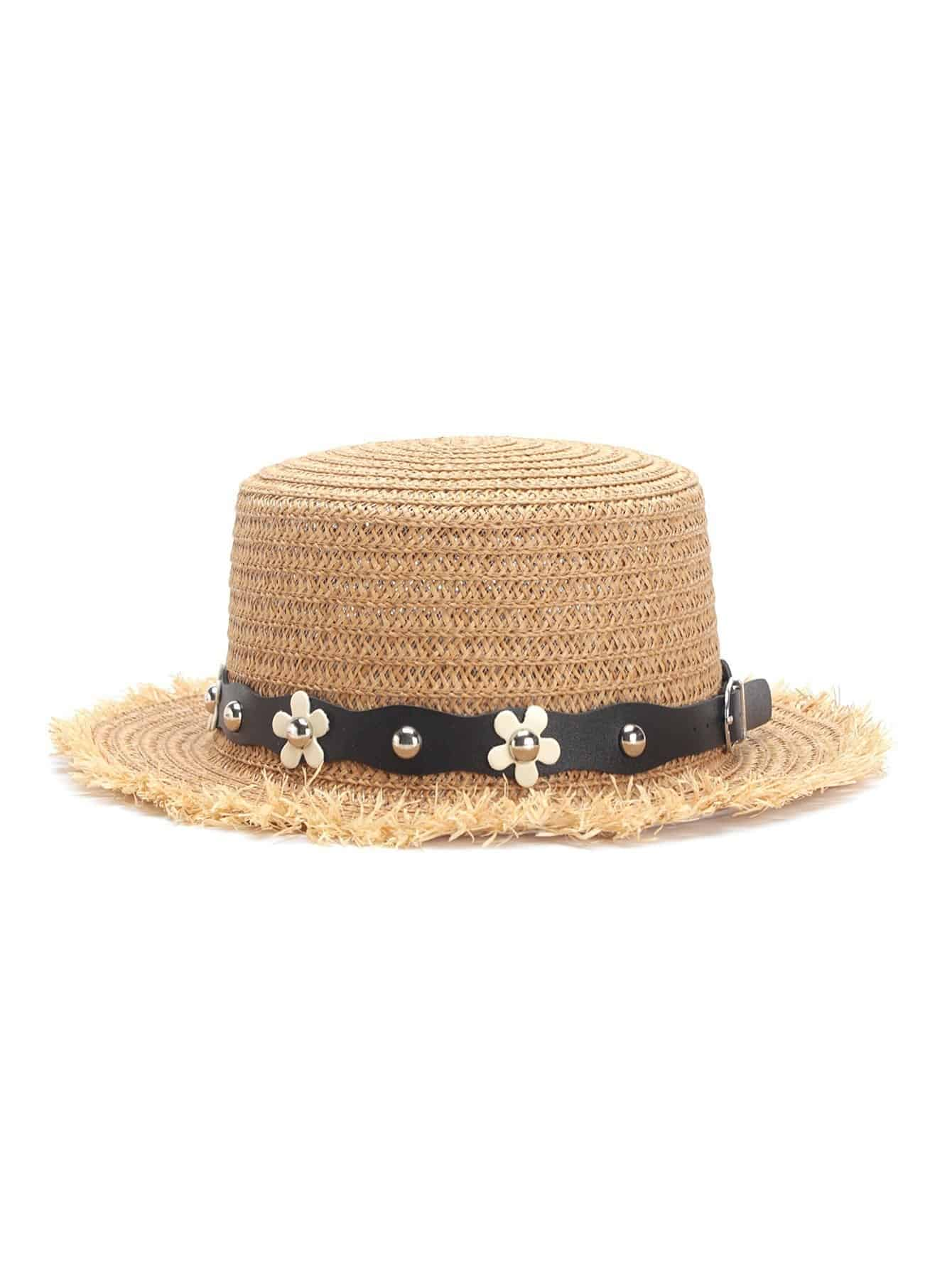 Flower Decorated PU Band Straw Hat stetson men s breakers premium shantung straw hat