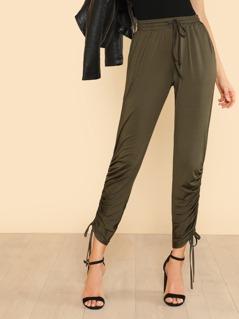 Shirred Drawstring Side Sweatpants