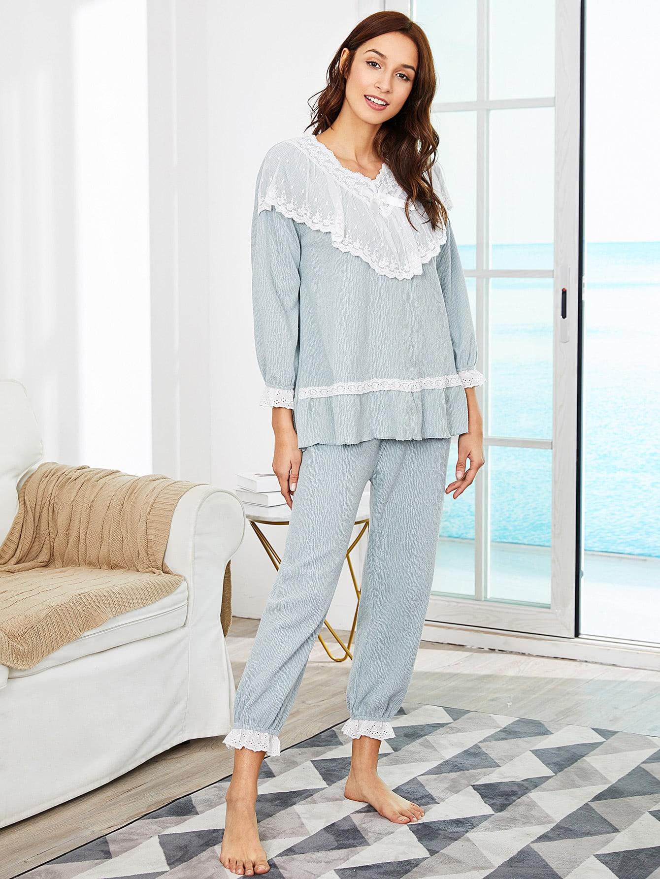 Contrast Lace Ruffle Hem Pajama Set