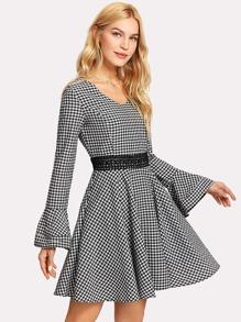 Lace Applique Flounce Sleeve Gingham Dress