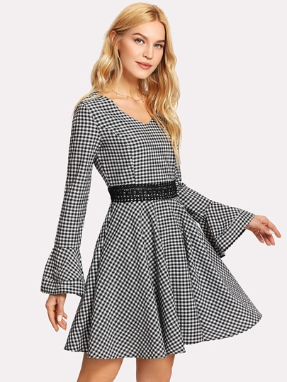 Lace Applique Flounce Sleeve Gingham Dress
