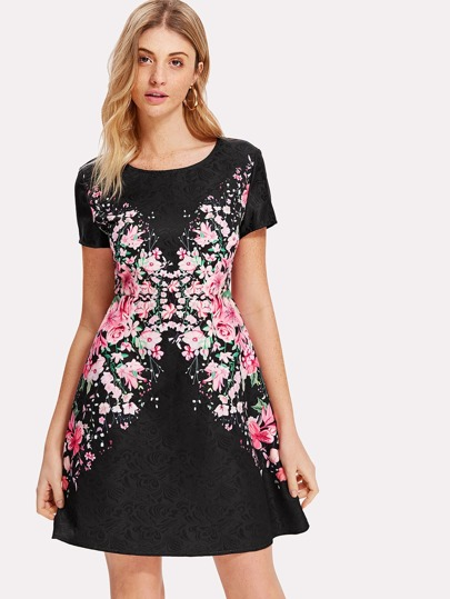 Botanical Print A Line Dress