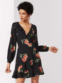 Mixed Print Ruffle Trim Surplice Wrap Dress