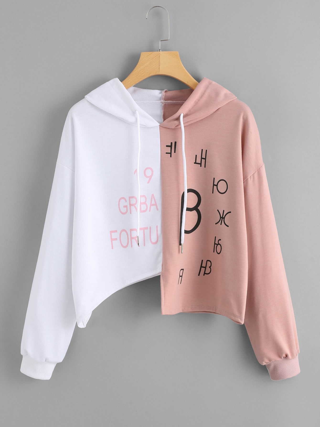 Two Tone Letter Print Asymmetric Hoodie tree print asymmetric two tone t shirt