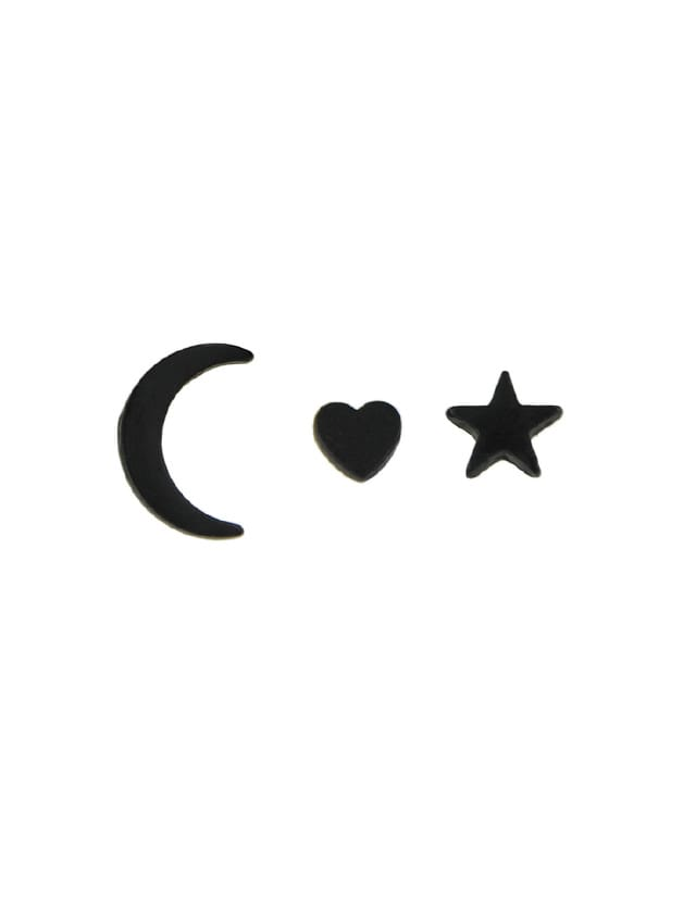 3Pcs/Set Heart Moon Star Cute Stud Earrings Set