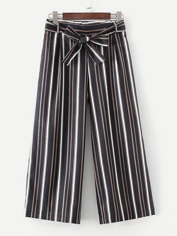 Self Tie Striped Pants striped ruffled waist self tie pants