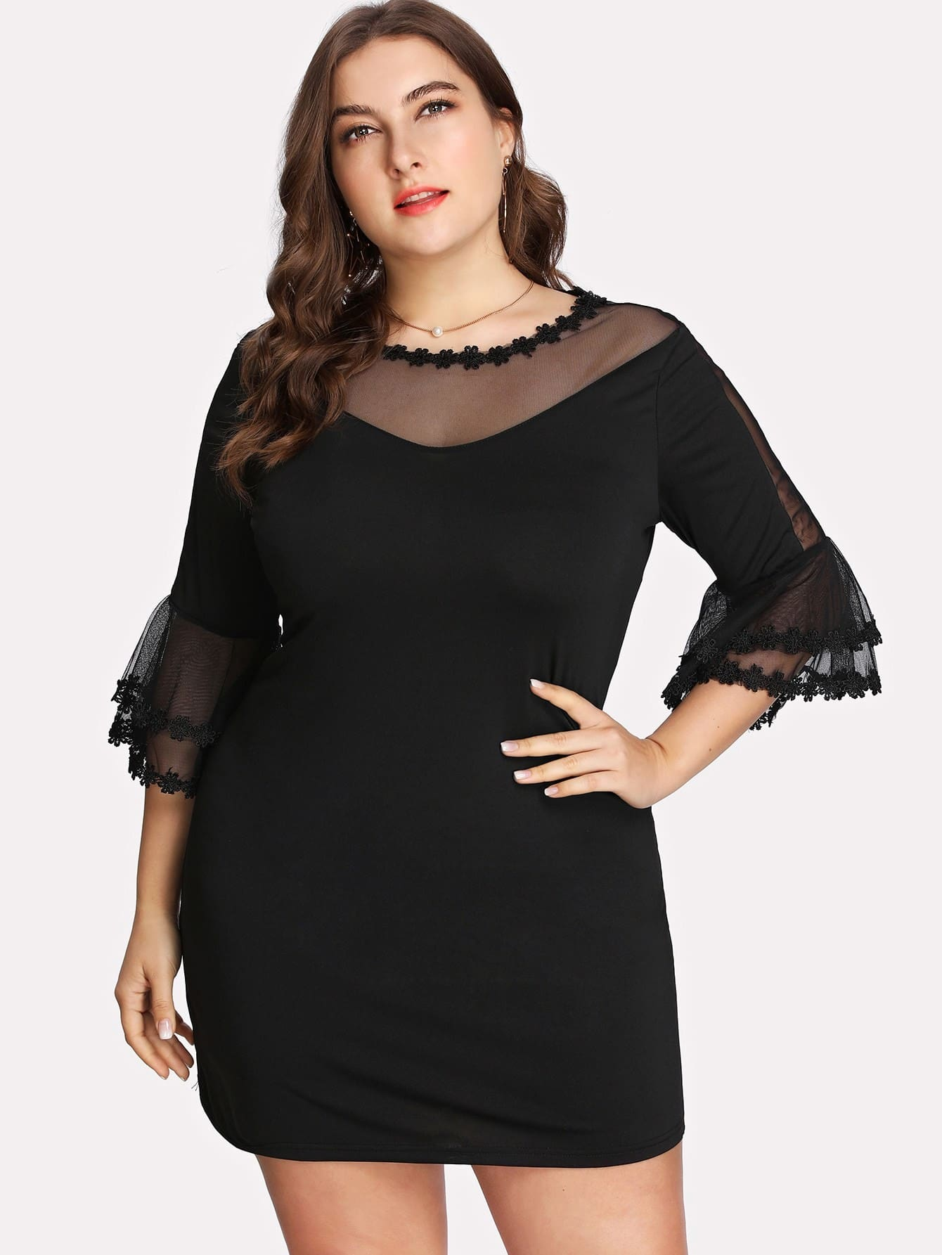 Plus Mesh Panel Crochet Lace Trim Dress