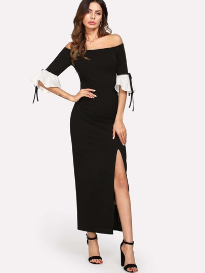 Contrast Ruffle Cuff Split Front Bardot Dress