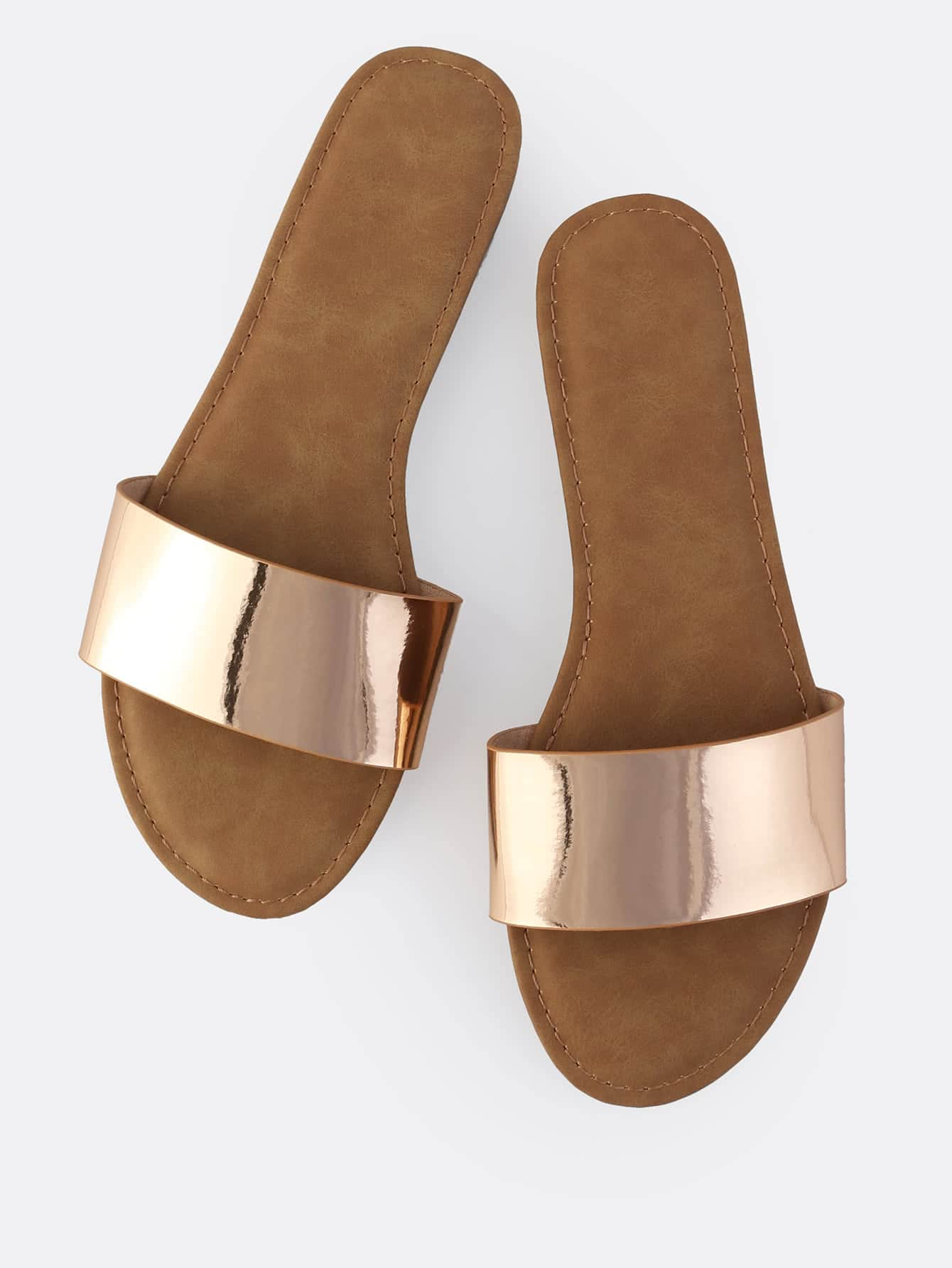 Image of Classic Metallic Slip On Sandals ROSE GOLD