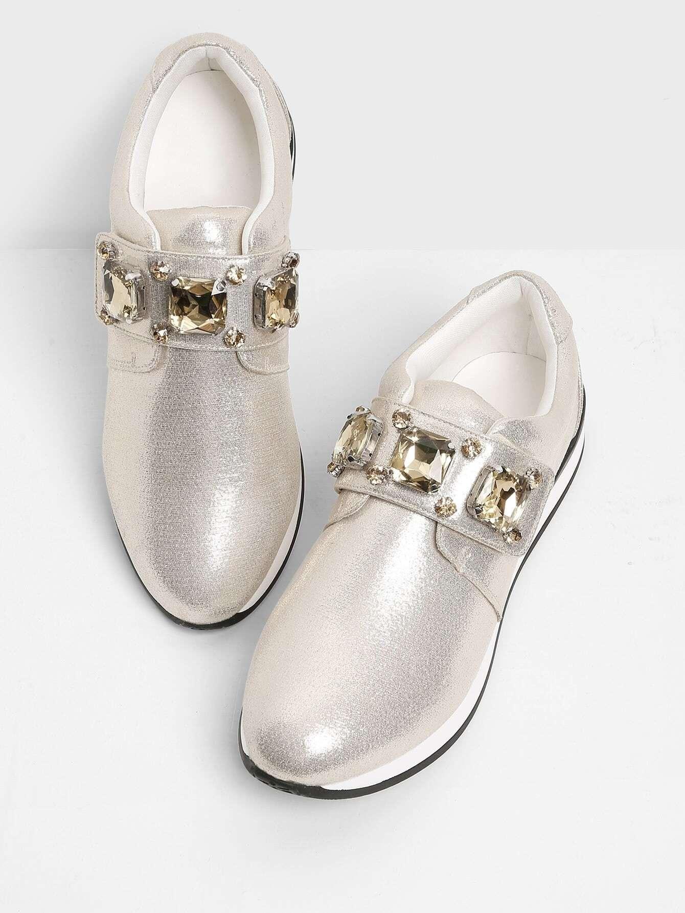 Rhinestone Design Slip On Sneakers