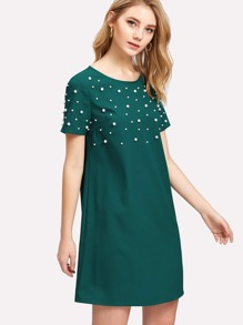 Pearl Embellished Solid Dress