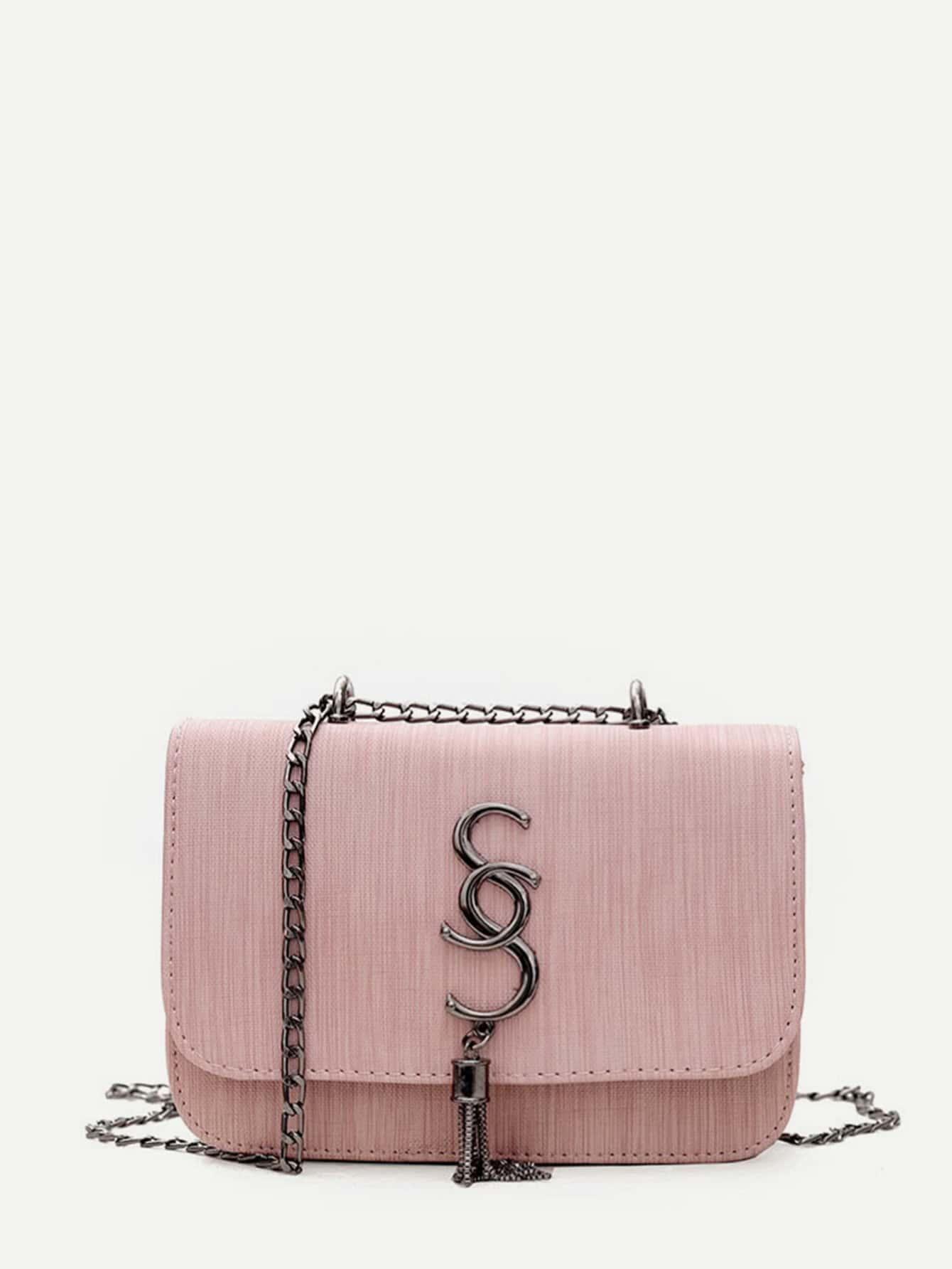 Tassel Detail PU Chain Flap Bag tassel decorated velvet chain flap bag