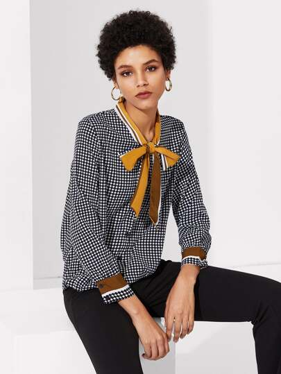 Striped Tie Neck Dot Print Blouse