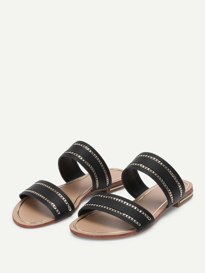 Romwe / Chain Detail Duo Strap Sandals