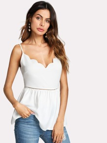 Laser Cut Insert Scalloped Cami Top