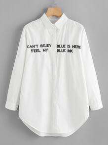 Slogan Embroidery Dolphin Hem Blouse