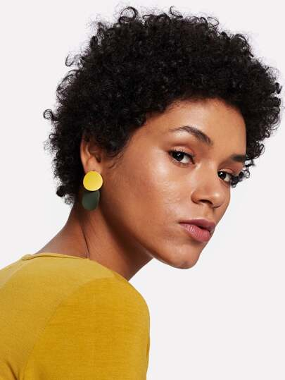 Two Tone Round Flake Drop Earrings