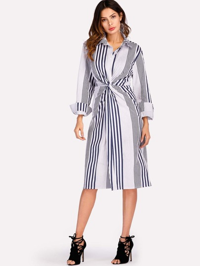 Vertical Striped Twist Front Dress