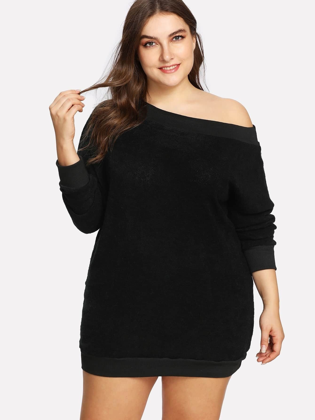 With balloon sleeves and buttons on one shoulder, this boatneck sweater-dress has a subtle vintage vibe. A real winner with boots or sneakers. Nonwaisted. Falls 35