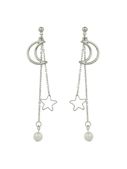 Silver Long Chain Hanging Earrings Moon Star Shape