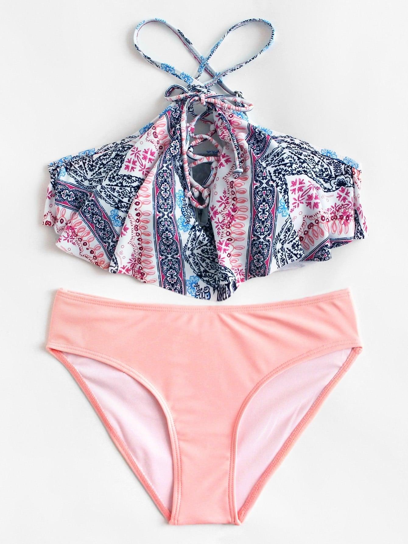 Фото Mixed Print Lace Up Bikini Set checker knot bikini set