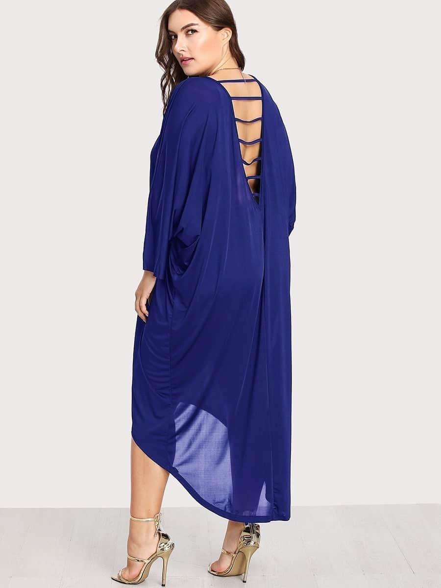 Batwing Sleeve Dip Hem Dress