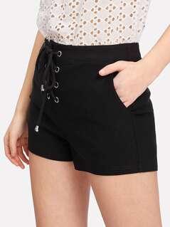Grommet Lace Up Front Shorts