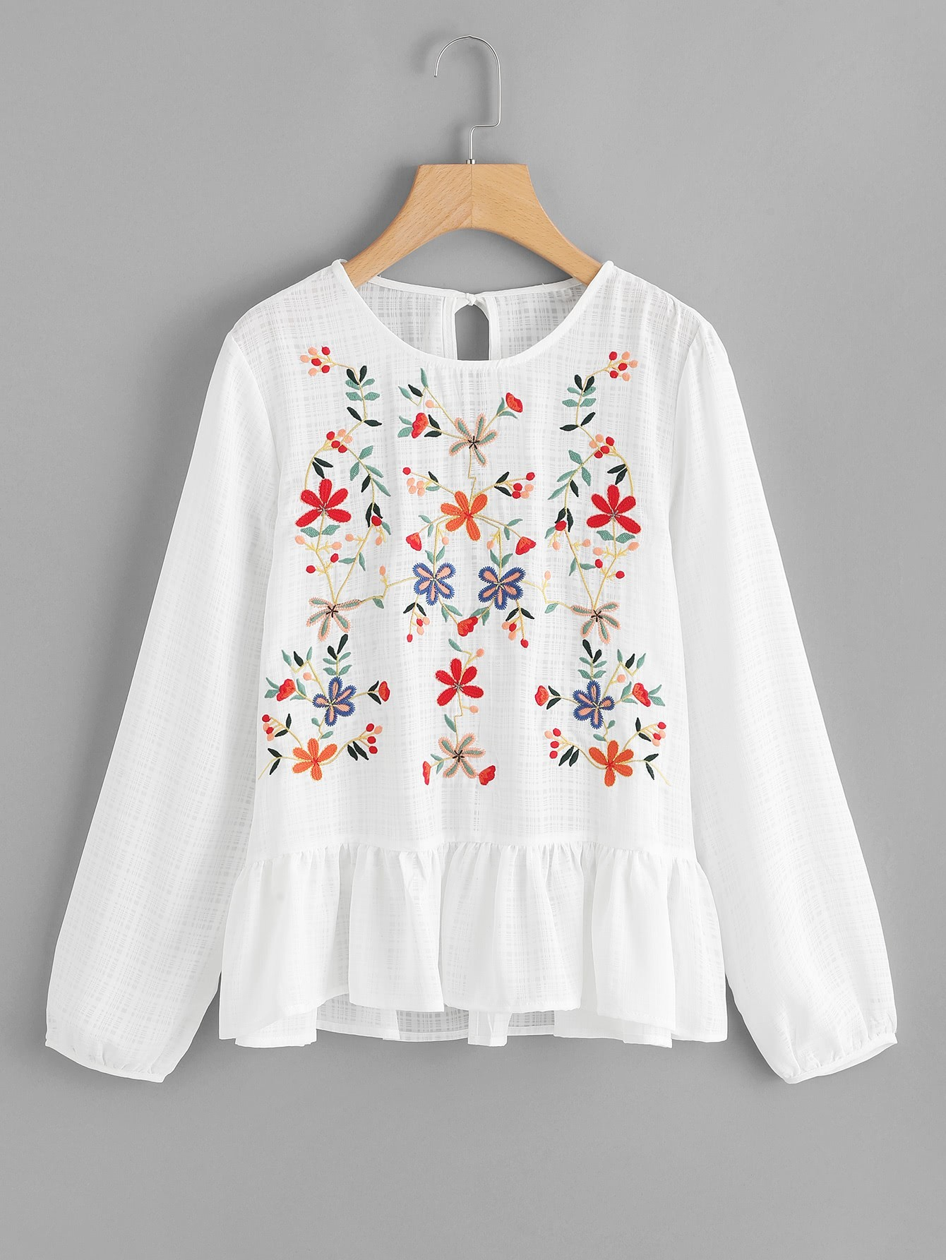 Split Back Ruffle Hem Embroidered Top plus size split sleeve embroidered top