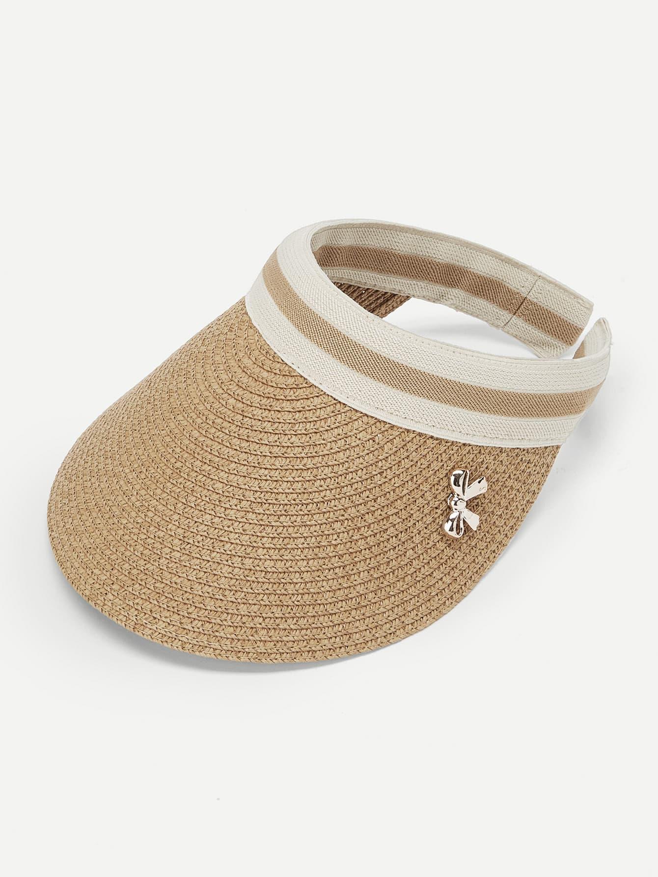 Bow Embellished Straw Visor Hat
