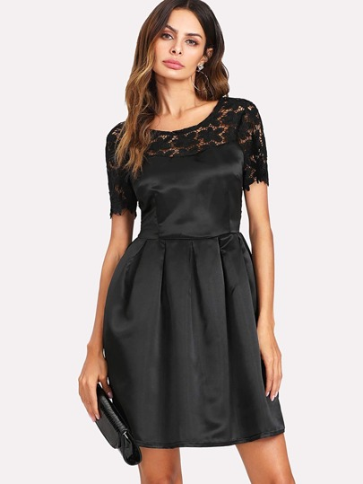 Hollow Lace Panel Self Tie Back Dress