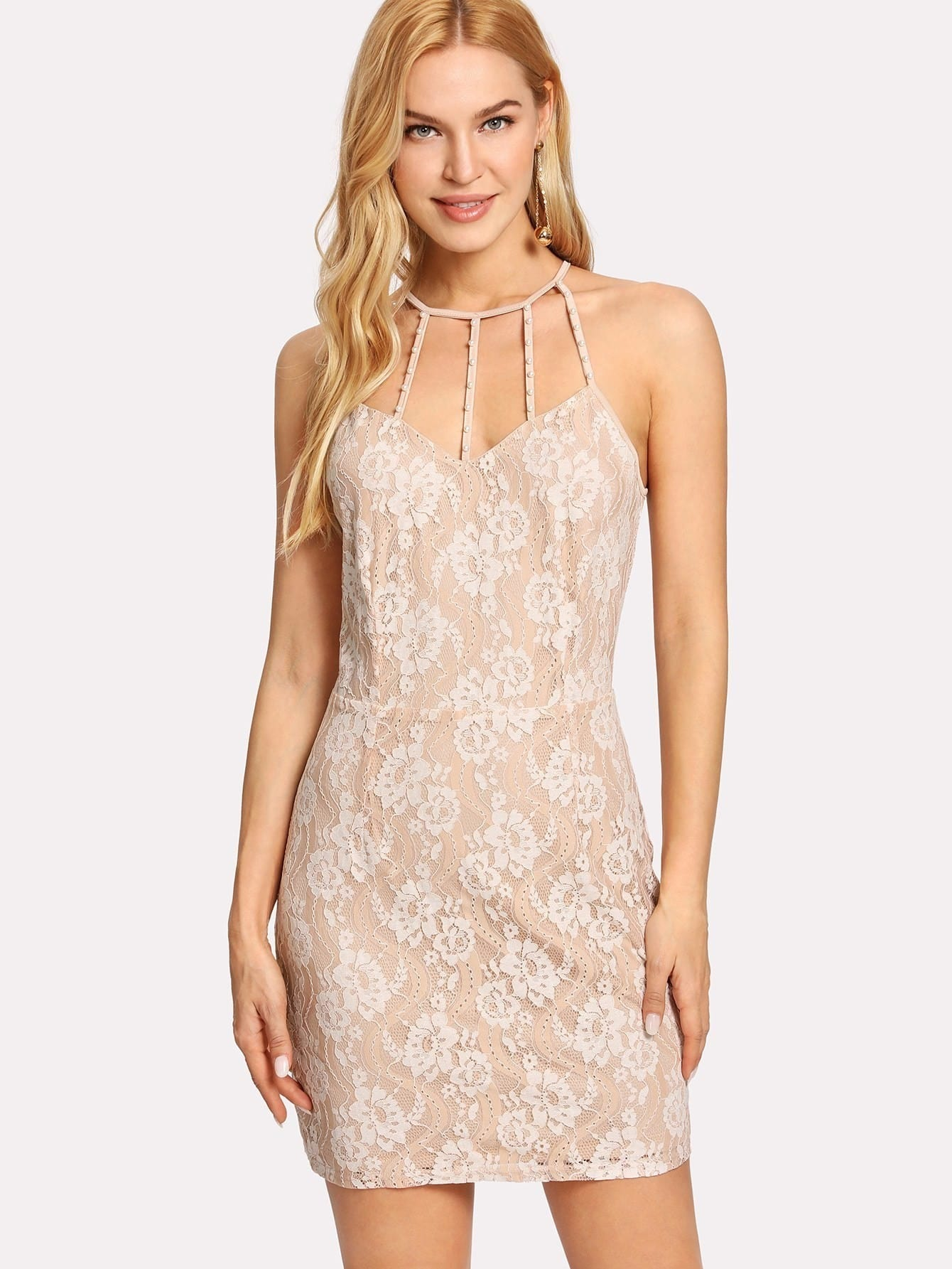 Caged Neck Lace Dress caged neck solid dress