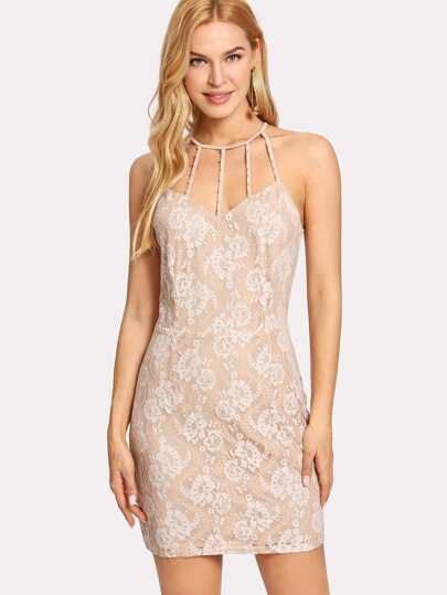 Caged Neck Lace Dress