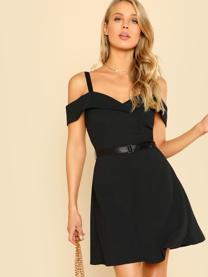 Fold Over Cold Shoulder Belted Dress