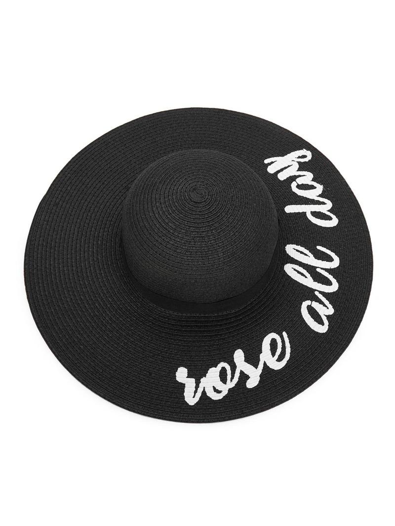 Letter Print Wide Brim Straw Hat, Black