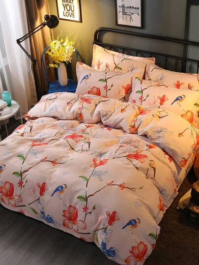2.0m 4Pcs Flower & Bird Print Duvet Cover Set