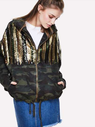 Contrast Sequin Camo Print Hooded Jacket
