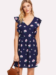 Ruffle Trim Split Back Floral Dress