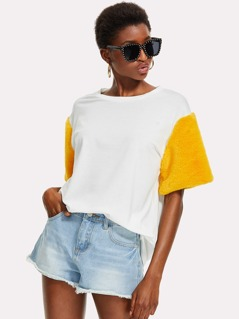 Contrast Fuzzy Sleeve Longline T-shirt