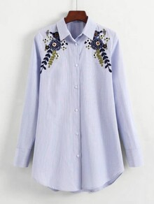 Flower Embroidery Longline Striped Blouse