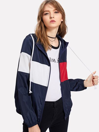 Cut And Sew Windbreaker Hooded Jacket