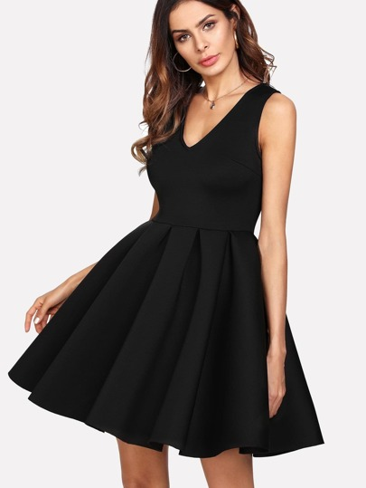 Box Pleated Fit & Flare Dress